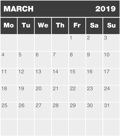 Classic month planning calendar in English for March 2019, Monday to Sunday (all year avalaible in portfolio), blank template, greyscale  イラスト・ベクター素材