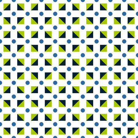 Seamless pattern made of polka dots in blue color; green and dark blue triangles in square shape on white background