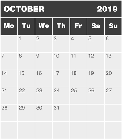 Classic month planning calendar in English for October 2019, Monday to Sunday (all year avalaible in portfolio), blank template, greyscale  イラスト・ベクター素材