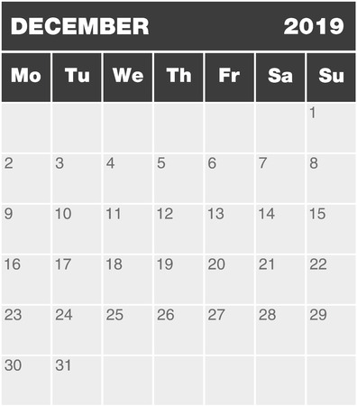 Classic month planning calendar in English for December 2019, Monday to Sunday (all year avalaible in portfolio), blank template, greyscale