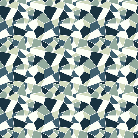 Seamles vitrage (stained-glass) pattern in cold muted colors of blue and grey, outlined polygonal ornamets with white outline, background with winter cold feel