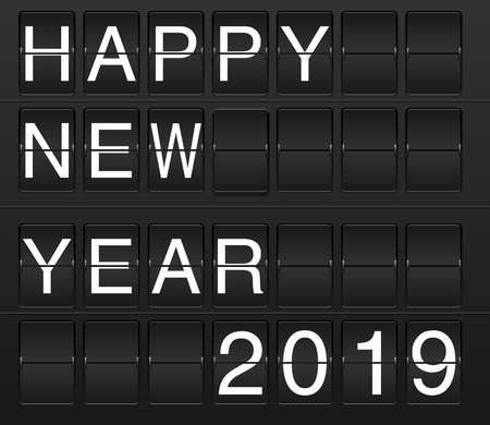 Happy New Year 2019 card in display board style (solari board, flightboard, flipboard), black and white 向量圖像