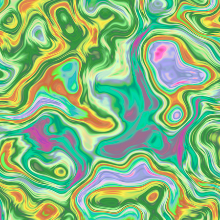 Dynamic abstract background with colorful waves, liquid fractal in bright and vibrant colors of green, orange, yellow, purple and pink