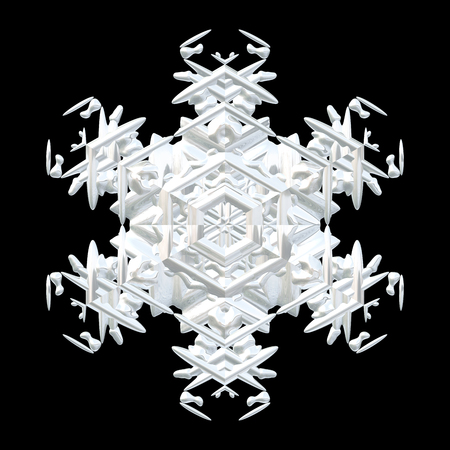 Illustration of white symmetrical 3D snowflake isolated on black, seasonal cut out decoration, other variations in portfolio