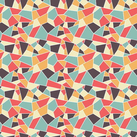 Seamles vitrage (stained-glass) pattern in retro styled colors of blue, tan, brown and orange, ountlined polygonal ornamets with white outline Ilustração