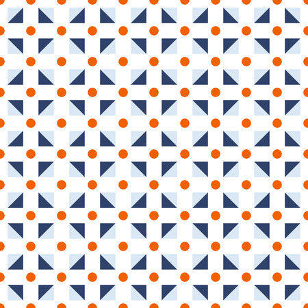 Seamless pattern made or dark orange polka dots and blue (dark and light) triangles in square shape on white background, abstract tile template, geometry backdrop