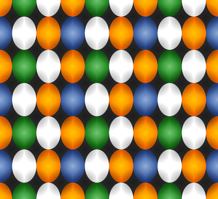 Seamless pattern made of oval abstract geometry shapes with inner starts in solid colors of blue, white, green and orange on black background, Easter egg imitation Ilustração