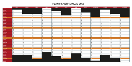 Year planning calendar for 2019 in Spanish - Planificador anual 2019; Sundays are highlighted, colorful version with red and orange color, monochrome variation and other language mutations in portfolio