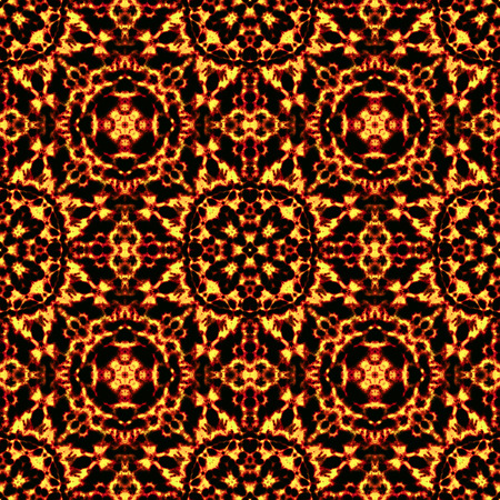 Seamless tile pattern background ornament made by fire flames, kaleidoscope style, red and yellow flames on black background, geometric wallpaper, abstract backdrop, scary horror decor Stock Photo