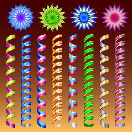 Set of colorful flat streamers isolated on dark background. Illustration