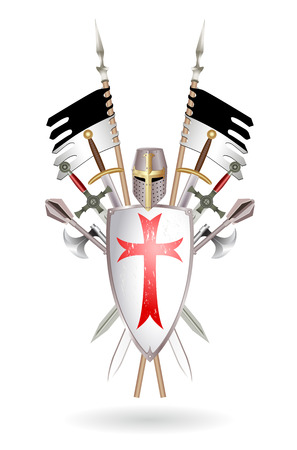 templar: Outfit Templar: shield, sword, two-handed sword, ax, helmet, standard. Colored illustration, made in the form of a coat of arms on white.