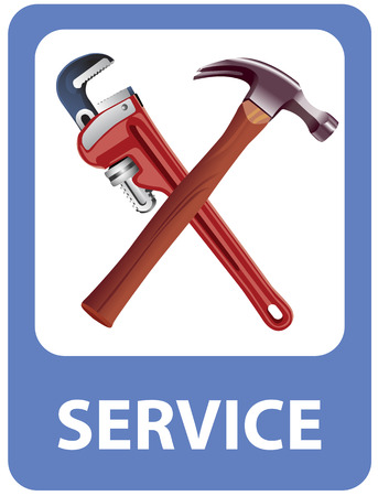 depicted: Mechanics tools depicted in road sign.