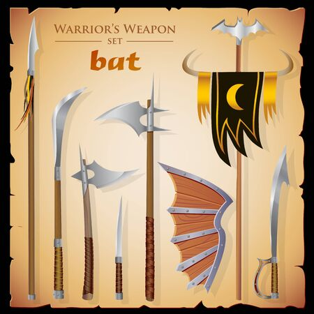 standard steel: Set short-range weapon, designed in the style of fantasy. Swords, axes, knife, spear, shield, standard, background in the form of parchment. Colored illustration Illustration