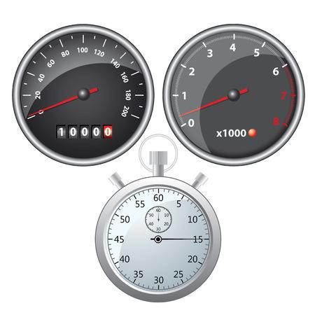 Measuring Instruments speedometer tachometer stopwatch. Colored vector illustration. Illusztráció