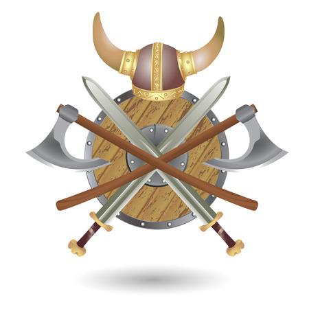 Set Viking Ausrüstung: Schild, Schwert, Axt und Helm in Form des Emblems ausgeführt. Illustration