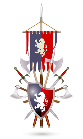 Coat of Arms to fantasy style on a white background. Shield, sword, ax, standard with lion.