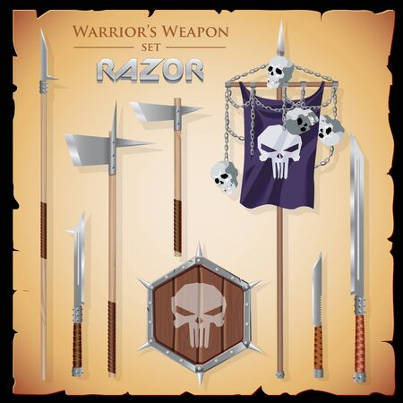 hexahedral: Set short-range weapons in the same style Razor, straight, sharp, with a hexahedral shield and flag with a skulls and chains, on parchment background. Illustration