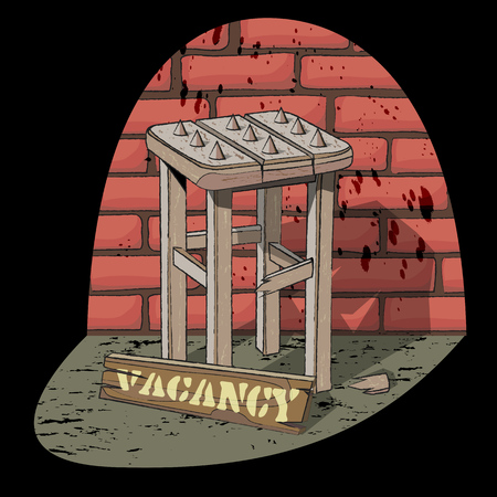 Job vacancy. Job offer. Poor job offer. Bad vacancy. Rickety stool with spikes in the spotlight on the brick wall background. Vector illustration. Illustration