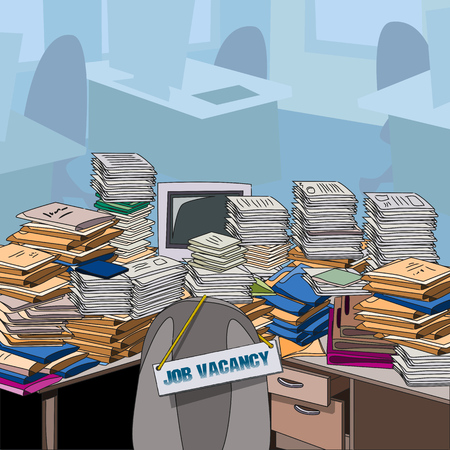 Job vacancy. Job offer. Cluttered. Table, littered with papers and documents, next to the empty chair. Vector illustration. Ilustração