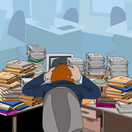 Cluttered. Table littered with papers and documents. The man in the chair clutching his head in despair. Vector illustration. Illustration