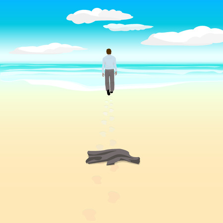 spit: Beach. Man goes to the sea on the beach. Vector illustration.