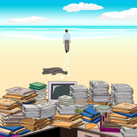 bookkeeper: Cluttered. Beach. One goes along the beach away from the cluttered desktop, throwing jacket . Vector illustration.