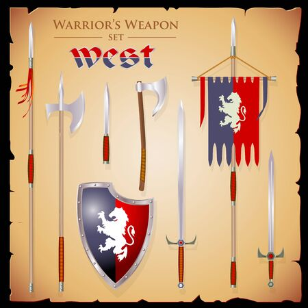 halberd: Set short-range weapons in the same style West, elegant, rigorous, with a English shield and flag with lion, on parchment background. Illustration