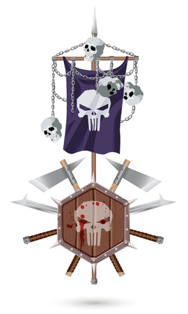 standard steel: Coat of Arms to fantasy style on a white background. Shield, sword, ax, standard with a skulls and chains.