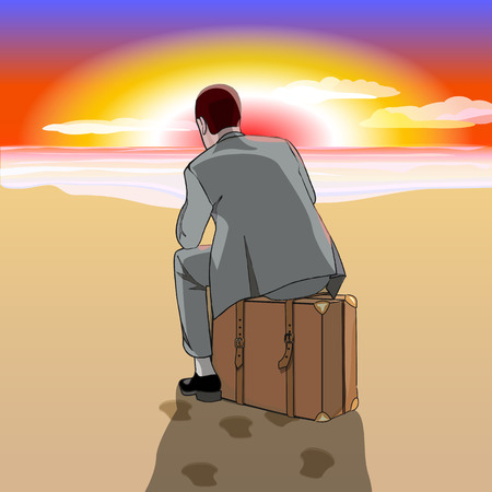 business suit: Beach. Sunrise or sunset. A man in a business suit sitting on a suitcase at the beach. Vector illustration. Illustration