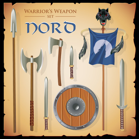 massive: Set short-range weapons in the same style Nord, massive, heavy, with a round shield and flag with a wolf head, on parchment background.