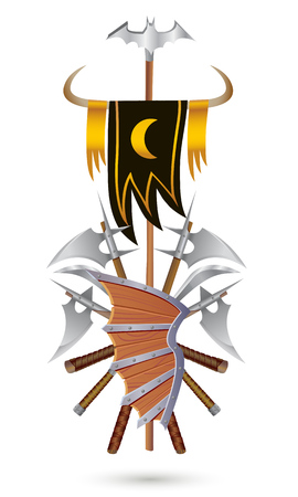 Coat of Arms to fantasy style on a white background. Shield, sword, ax, standard with moon and bat.