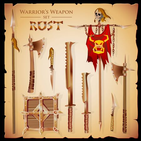 massive: Set short-range weapons in the same style Rust, massive, heavy, rough, rusty, with a square shield and flag with skull, on parchment background.