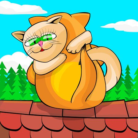 Red and white cats cuddling on tiled roof. Cats are sitting on the background of the sky above their heads clouds float. Cartoon vector illustration.