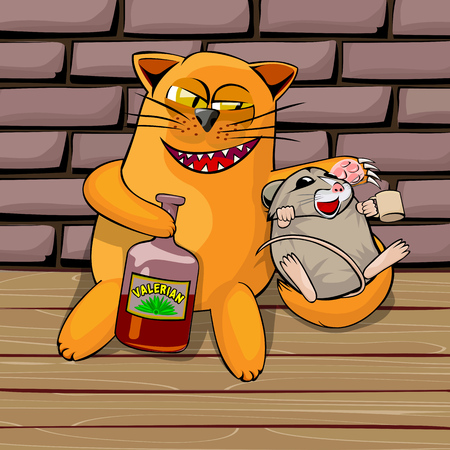 secluded: Red cat and mouse in the basement drinking valerian. Mouse drunk. cat look tricky, he shows his teeth and claws. Cartoon vector illustration with isolated objects.