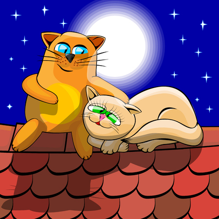 Red and white cats cuddling at night on a tiled roof. Cats are sitting on the background of the starry sky above their heads full moon shines. Cartoon vector illustration with isolated objects.