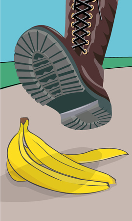 peel: The foot in the shoe does step on a banana peel. A moment before. Cartoon vector illustration with isolated objects.