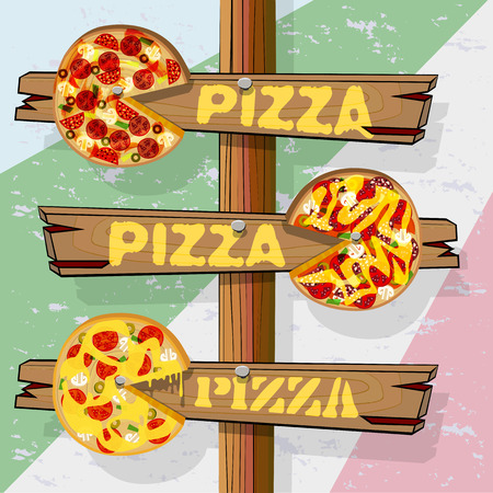 three objects: Signpost with three pointers pizza. Wood pizza with painted ingredients. Vector illustration with isolated objects.