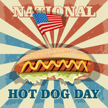 hot dog: National hot dog day. Hot dog vector.