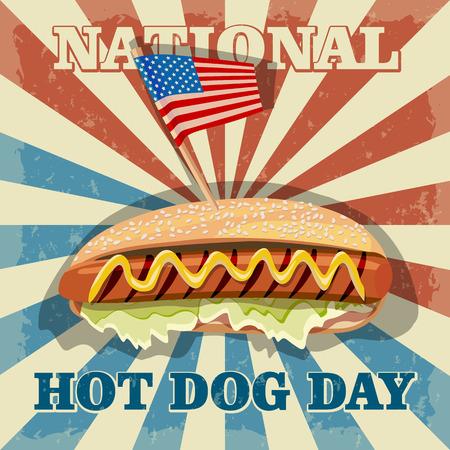 hot day: National hot dog day. Hot dog vector.