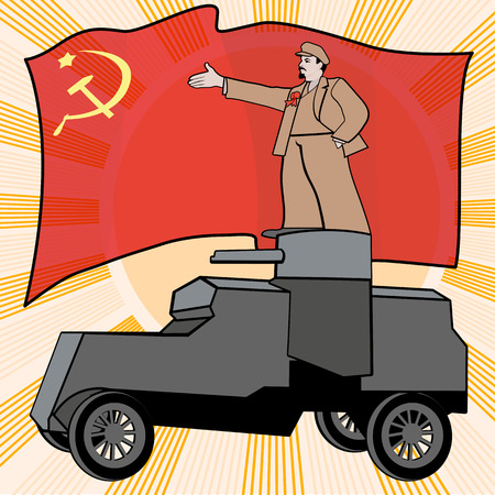 armored car: Lenin on the armored car on a background of the red flag. Poster, satire, vector illustration.
