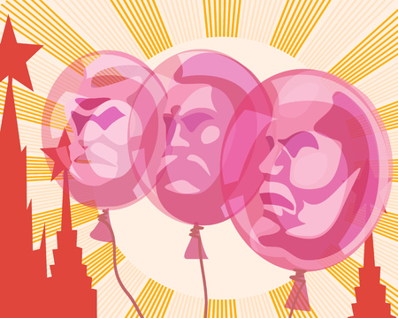 Balloons with the portraits of Lenin, Marx and Engels on the background of the sun and the Red square depicted in the style of Soviet poster. Satire, parody, vector illustration. Illustration