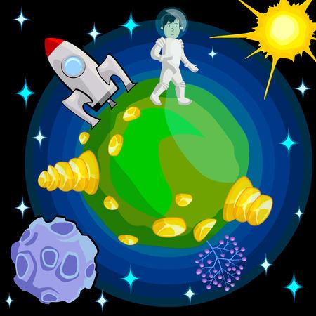 Astronaut landing on an unknown planet. Cartoon vector illustration. Illustration