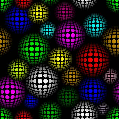 Abstract semless pattern with colorful volume circles on dark background. Vector pattern. Illustration