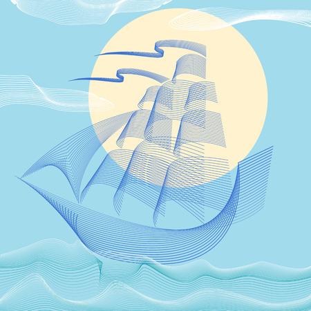 waterway: Sailing boat . Vector  templates and badges.