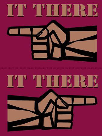 main Vintage avec pointage doigt rétro illustration vectorielle.