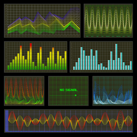 infomation: Graphs and charts set. Statistic and data, information infographic, waves. Vector illustration Illustration