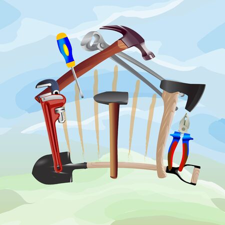 house construction: Construction tools in the form of house. Vector illustration.