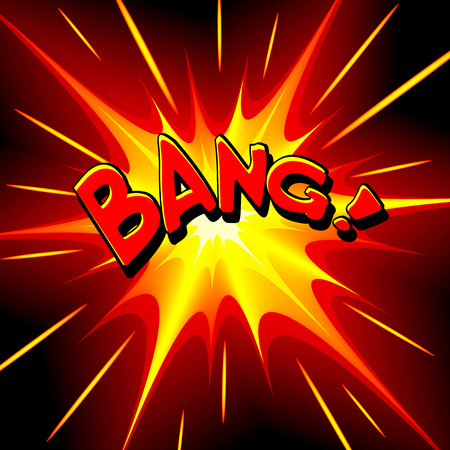 blasting: Bang comic cartoon. Vector illustration with yellow-red star on black background and inscription. Explosion template.