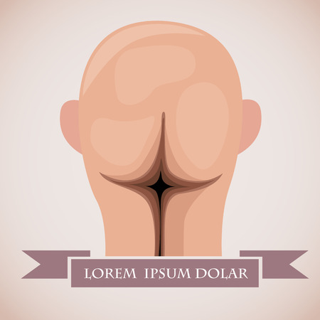 transplant: Head looking like ass. Satirical vector illustration with place for signature.