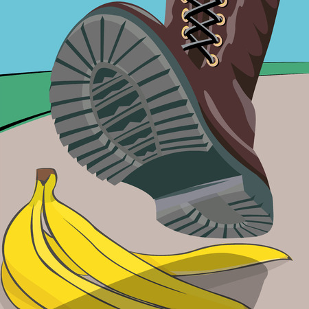 expectation: The foot in the shoe does step on a banana peel. A moment before. Cartoon vector illustration with isolated objects.